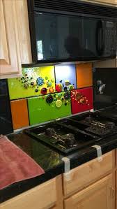 Stained Glass Backsplash by This Fused Glass Splashback Has Three Sets Of The Stripes In The