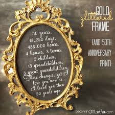 50th anniversary gift gold and glittered frame and print 50th anniversary party decor