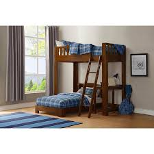 Luke Twin Over Twin Loft Bunk Bed With Desk Brown Cherry - Twin loft bunk bed
