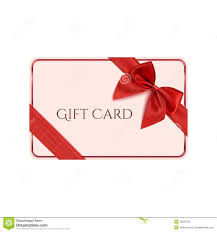 gift card template with red ribbon and a bow stock vector image