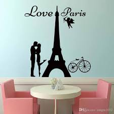 Wall Bedroom Stickers New Design Angels Love Paris Wall Decals Lover Kissing And Bike