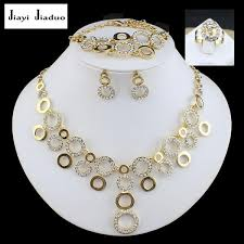 necklace accessories wholesale images Jiayijiaduo bridal jewelry set glamour women gold color bracelet jpg