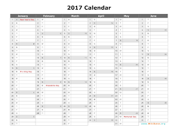 29 of 2017 Yearly Calendar Template