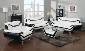 White Leather Living Room Furniture Black And White Leather Sofa Set For A Modern Living Room Amepac