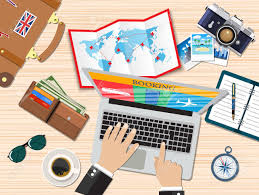 travel planning images Travel planning man with laptop planning vacation booking jpg