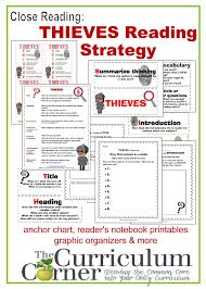 Elements Of Fiction Worksheet Close Reading Thieves Reading Strategy The Curriculum Corner 4 5 6