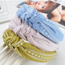 fabric headband fashion women multi colors bowknot wide hairband print