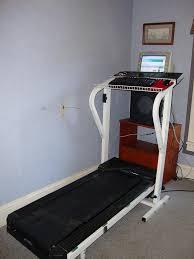 Treadmill Desk Diy by Treadmill Desk Full View Angle This Is My Makeship Treadmi U2026 Flickr