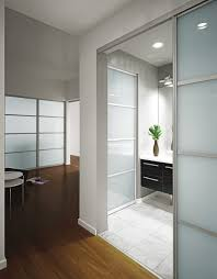 frosted glass room partition with stainless steel frames connected