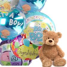 teddy in a balloon gift baby boy mylar balloon bouquet balloons and teddy same day