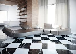 decor and floor grandiose silver seat curved sofa on black white checkered floor