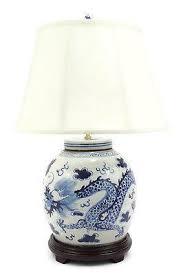Jar Table L Vintage Style Blue And White Motif Porcelain Jar