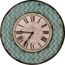 amazon com teal chevron wood wall clock oversized wall clocks