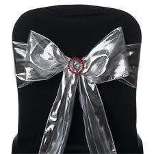 Chair Sashes Wedding 5 Silver Shiny Metallic Tissue Lame Chair Sashes Wedding Party