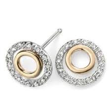 gold stud earrings uk yellow white gold diamond circle stud earrings