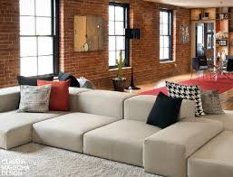 The Brick Leather Sofa Exposed Brick Living Room Leather Sofa Which Has Set Back