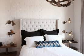 Painted Brick Interior Bedroom Transitional With White Tufted - Furniture repair atlanta