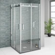 Small Corner Showers Orion Square 900 X 900mm Frameless Corner Entry Shower Enclosure