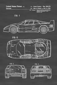ferrari f40 patent patent print wall decor automobile decor
