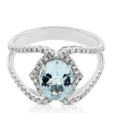 aquamarine engagement rings oval aquamarine u0026 diamond crossover ring 14k ben bridge jeweler