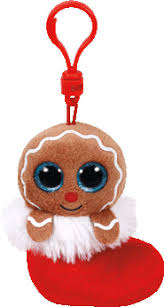 ty jingly gingerbread man holiday christmas beanie boos clip