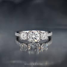 three stone engagement rings 3 stone three stone 18k white gold engagement ring by noam