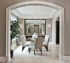 arched serving tray with oversized mirror dining room transitional