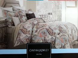New Bed Sets Cynthia Rowley Aqua Lime Green Paisley 3pc King Duvet Shams