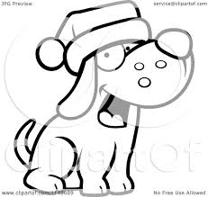 cartoon clipart of a black and white dog wearing a santa hat