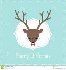 merry christmas card with cute deer with bow stock vector image