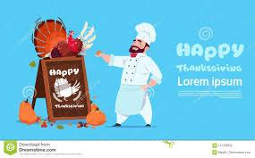 happy thanksgiving day chef cook holding turkey restaurant
