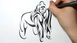 drawing a gorilla tribal art tattoo design style youtube