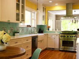 blue kitchen cabinets yellow walls kitchen decoration