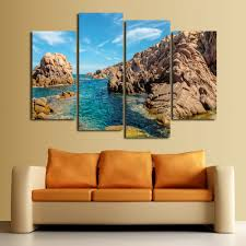 4 pcs sea rock picture hill hd print decoratio canvas painting