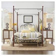 Iron Canopy Bed Frame Sereno Metal Canopy Bed Queen Bronze Cherry Inspire Q Target