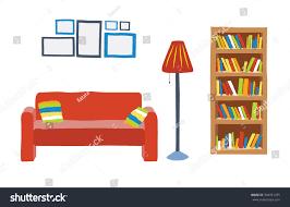 Livingroom Cartoon Interior Living Room Cartoon Style Sofa Stock Vector 304931375