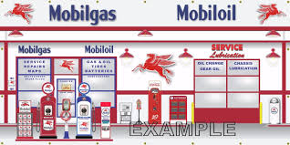 mobil gas station scene pegasus whole wall mural sign banner mobil gas station scene pegasus whole wall mural sign banner garage art 8 x 16
