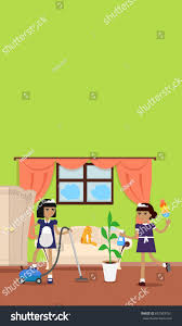 house cleaning video banner flat design stock illustration