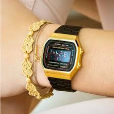 Jam Tangan Casio Gold casio a168wegb 1b digital vintage black gold series