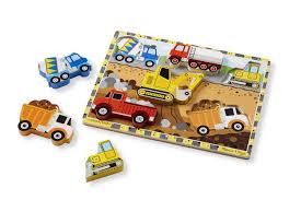 amazon com melissa u0026 doug construction vehicles wooden chunky