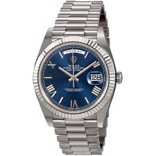 rolex day date 40 blue 18k white gold president automatic