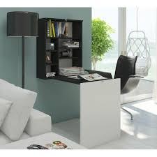bureau rabattable contemporain noir et blanc mat 60 cm achat