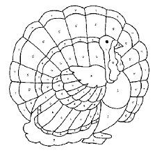 color code thanksgiving turkey color pages