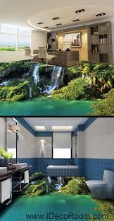waterfall cliff green mountain 00096 floor decals 3d wallpaper