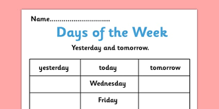 days of the week yesterday and tomorrow activity sheet days of