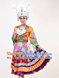 Chinese Costume Halloween Chinese Jing Minority Costume Bamboo Hat Complete