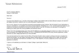 Bible College Acceptance Letter the aftermath of vassar s acceptance letter screwup one family