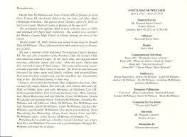 funeral bulletin in memory of oneita mcwilliams
