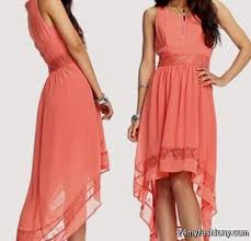 high low dresses casual coral 2016 2017 b2b fashion