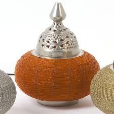 Nickel Table Lamp Soraya Nickel Table Lamp With Orange Beads Seven Colonial